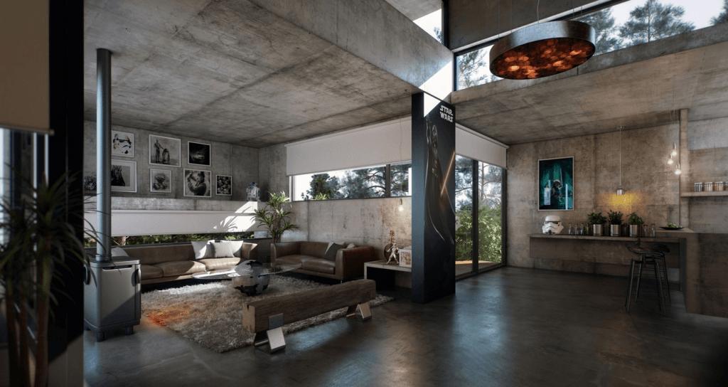 Design Beton in de woonkamer